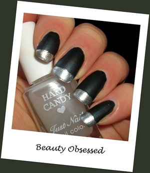 SILVER & MATTE FRENCH MANICURE Whats Your Name by Sinful Colors, then topped with Matte-ly by Hard Candy. Silver Coin by Revlon for the tips.