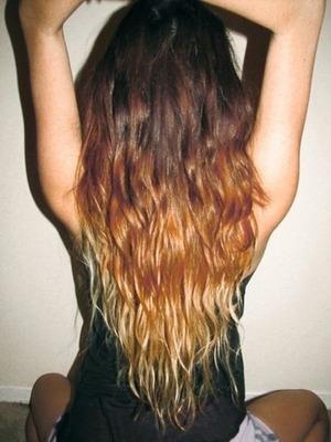 Long hair dye waves