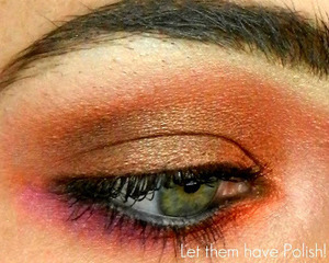 A deep coppery and Orange look accented with Pink