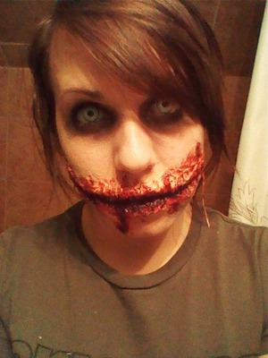 Mouth Sewed shut, Marilyn Manson contacts. toilet paper, liquid latex, makeup, gel blood, black paste.