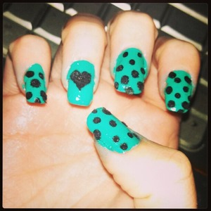 teal nails with black polka dots  with flocking powder