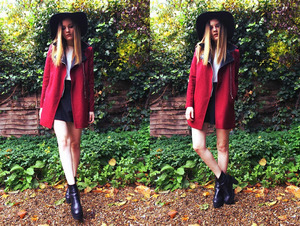 Claret-red woolen coat, featuring panel faux leather fabric on notch lapel, long sleeves, zippered front, twin insert pockets on lower body, slim fit. Mix awesome with black bodycon dress, high boots and handbag for a date.