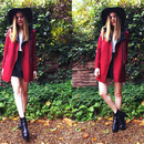 Romwe Panel Faux Leather Claret-red Woolen Coat