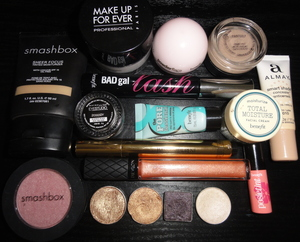 Shimmery Pink and Brown Makeup of the Day Products