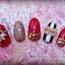 Red and gold heart cutout Love nails with stripes
