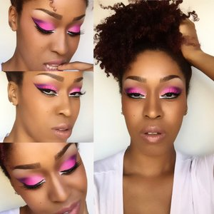 💗Tickle Me Pink- Love Love this look. For this looked I used @bhcosmetics 1st edition eyeshadow palette, @maccosmetics NC45 foundation, concealer, and blush in razin, @maccosmetics lipstick in High Tea, @maybelline Illegal length mascara in blackest black. For my hair I had a three day old twistout that wasn't looking hot down anymore so I put it up into a high puff using @cantubeauty coconut curling cream to soften it and bring back a nice loose bounce . Love my products for always helping me create a flawless look💋