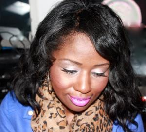 I can't recall the lip color!! So sorry! Sweet as Candy by Wet n' Wild and Sonia Kashuk Half lashes
