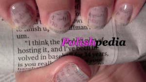 Newspaper nails are so much fun to do.  View complete video tutorial @ http://www.polishpedia.com/newspaper-nails.html