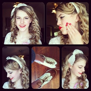 Super curly hair with pin curl bangs and white bandana. I did my nails similar to how they did it in the 40s and I finally got oxfords!!!!