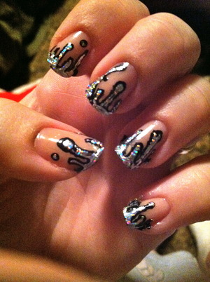 Natural nail background with foil drips outlined in black. So holographic and shiny<3