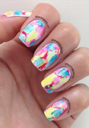 lslfun.blogspot.com #gelish #nailart #drybrush #summernails