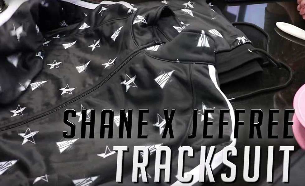 Conspiracy Track Jogger decorated with Shane and Jeffree's logos.