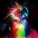 Messy rainbow bun