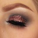 Pink glittery, black smokey eye