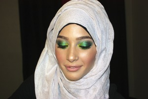 All shades of green, emeralds, limes