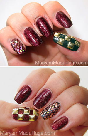 nail polish, glitter and studs from bornprettystore.com 10% coupon: maryam5w21 Giveaway: http://www.maryammaquillage.com/2012/10/bday-nails-giveaway.html