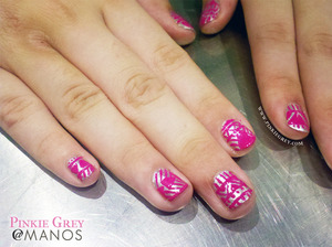 See the full mani at: http://pinkiegrey.com/post/41831424293/pink-tribe-beas-pink-and-silver-version-of-our