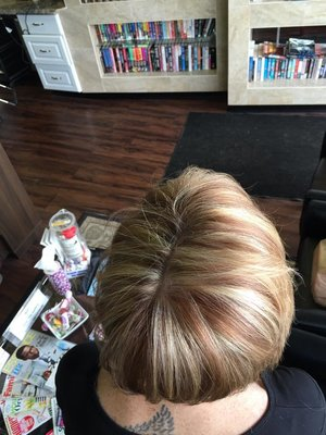 highlights low lights and hair cut by Christy Farabaugh