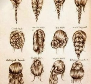 have a couple of charts full of different hairstyles heres one.