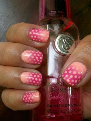 Light pink and dots by NYX Girls Naked Pink. Dark pink by NYX Dusty Pink.