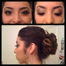 Glitter make up and messy bun.