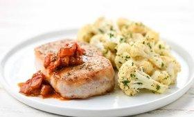 Tuscan Pork Chops with Cauliflower  Scampi   Home Chef Recipe