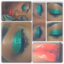 green glitter orange lips