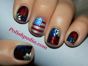 I love this holiday and went all out with this design.  Do you like it? See what products I used @ http://polishpedia.com/4th-of-july-patriotic-nails.html