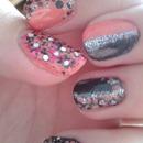 Pink, black nail art