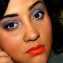 Smokey purple, royal blue liner, morange lip!