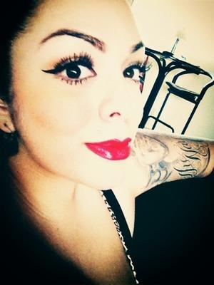 Red, bright lipstick