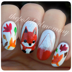 #nailartnov -fox,maroon,nature. Details on the blog>> http://www.thepolishedmommy.com/2013/11/foxy-lady.html