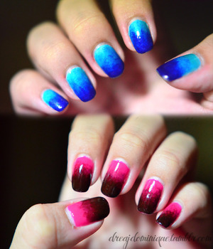 Products: http://dreajdominique.tumblr.com/post/13115106501/blue-versus-pink-ombre-nails-i-think-i-love-the