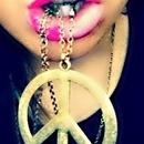 Half Pink Half Purple Lips,Peace Necklace.