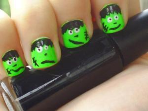 Frankenstein nails. Halloween Series 2011, design #2.