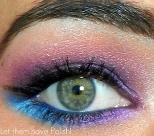 A pink , purple and Blue look