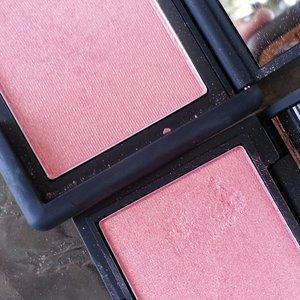 left: NARS Orgasm blush right: Sleek Makeup Rose Gold blush  same color, texture, staying power for $8