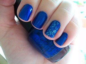 OPI Blue My Mind with Last Friday Night  To read my review of the polish please visit my blog:  www.mazmakeup.blogspot.com