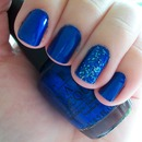 OPI Blue My Mind with Last Friday Night