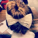 Upside down braid into bun with bow