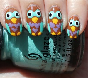 Click here to see my step-by-step tutorial for this look as well as more swatches: http://www.swatchandlearn.com/nail-art-tutorial-owl-nails/