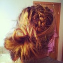 My hair French braid into messy sock Bun