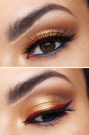 airbrushed, every day eye look with a twist: http://www.maryammaquillage.com/2013/04/golden-goddess-luminess-airbrush-makeup.html