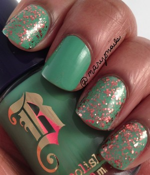 Sally Hansen Copper Penny layered over Brash Green Machine  http://www.polish-obsession.com/2013/03/show-some-love-saturday_9.html?m=1