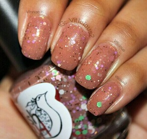 "Two coats of PolishTBH. Gingerbread House without topcoat. Gingerbread House is described as ""A brown crelly with a slight brown micro shimmer finish. Packed with hearts, dots and hex glitter in multiple sizes and colors."""
