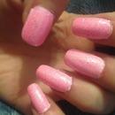 Pink Sparkle Nails