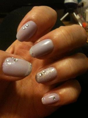 Lavender base with white glitter tips with gems