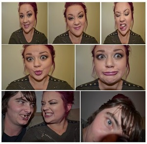 """Being silly with my boyfriend Daniel (after doing the """"Eyeshadow - Browns, Greys, Golds"""" makeup)"""