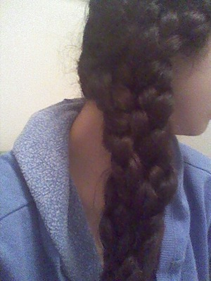 1.) bring all your hair to one side 2.) separate into three sections 3.) make three braids 4.) braid all three braids tightly together  5.) loosen to liking