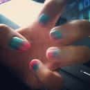 Blue pink nail